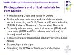 finding primary and critical materials for film studies