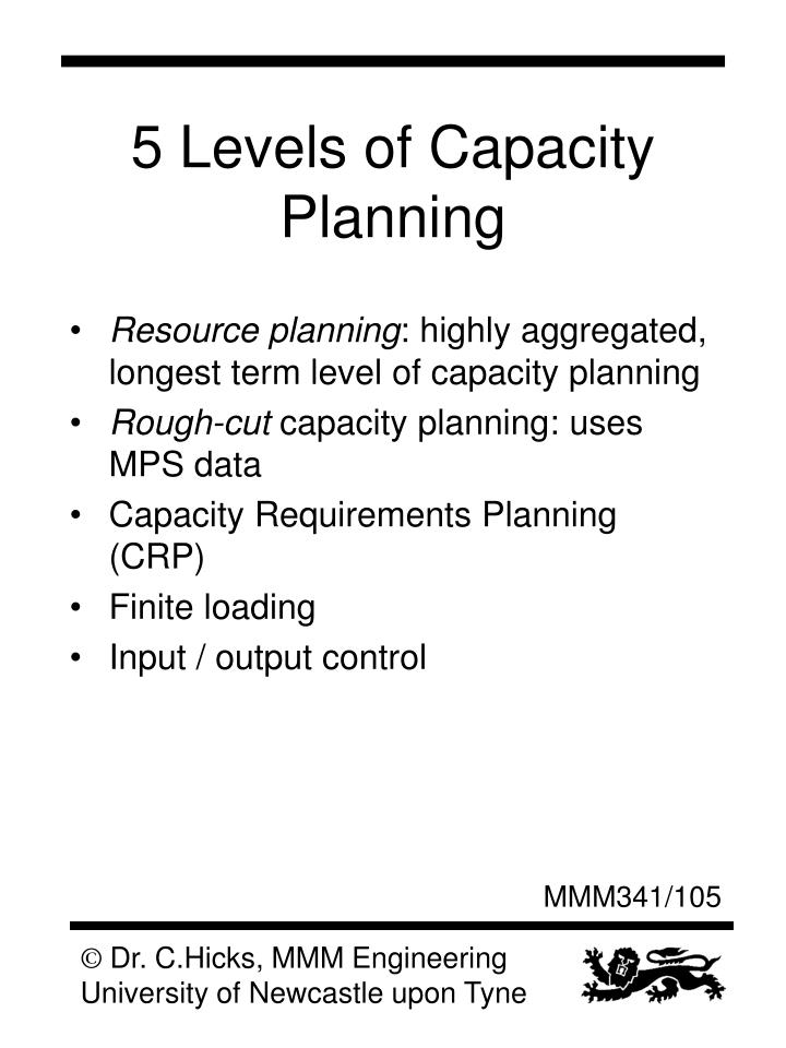 5 Levels of Capacity Planning