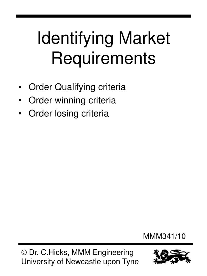 Identifying Market Requirements