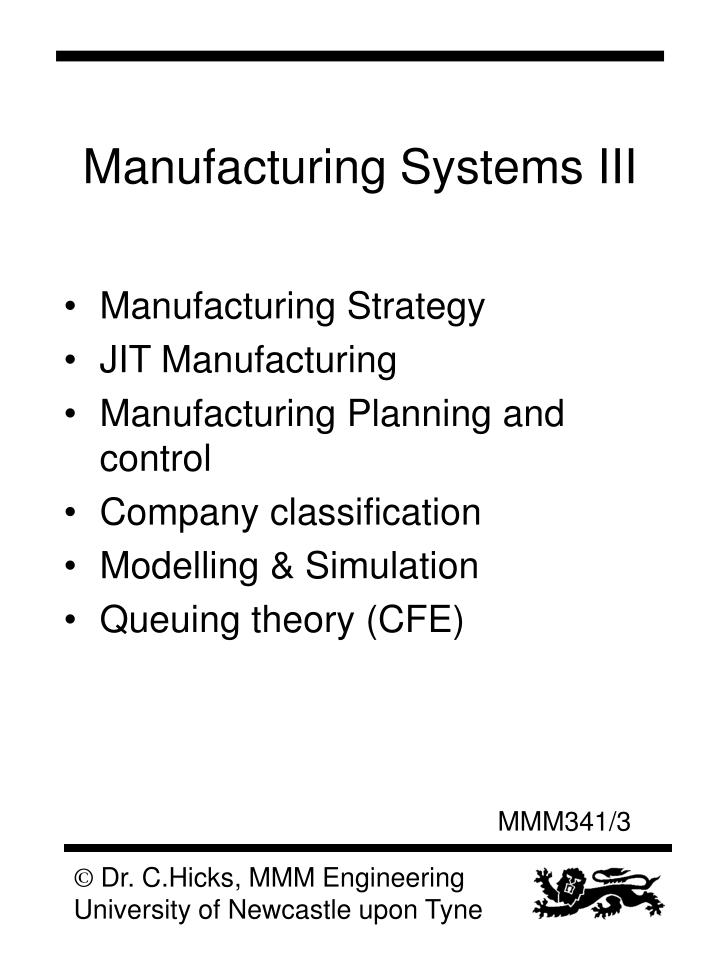 Manufacturing systems iii1