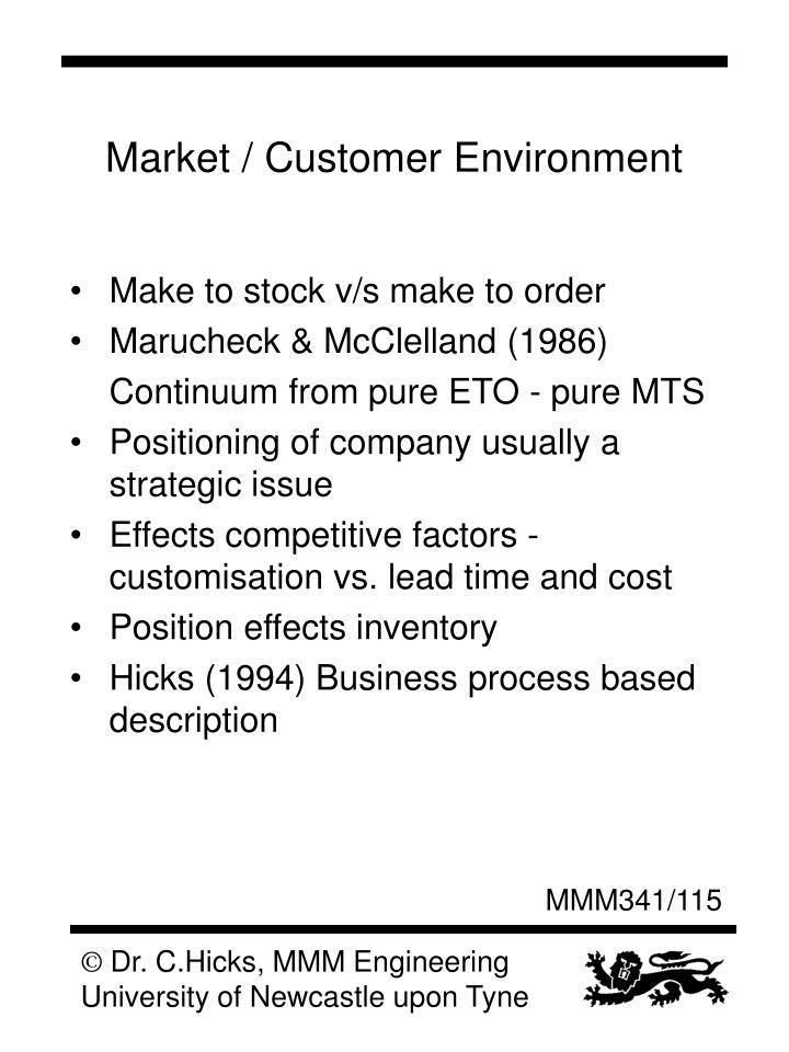 Market / Customer Environment