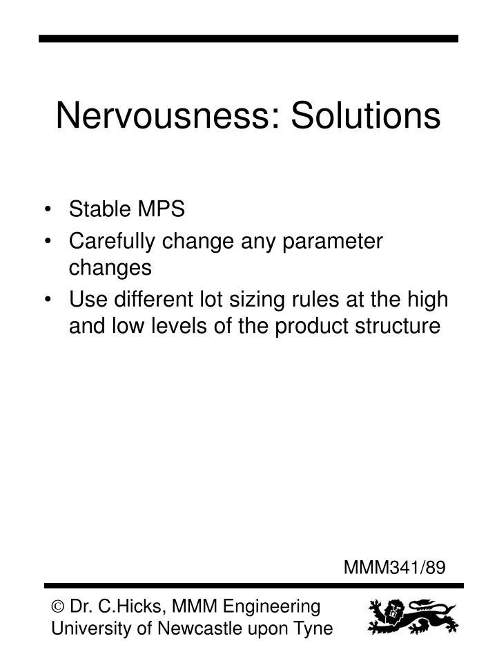 Nervousness: Solutions