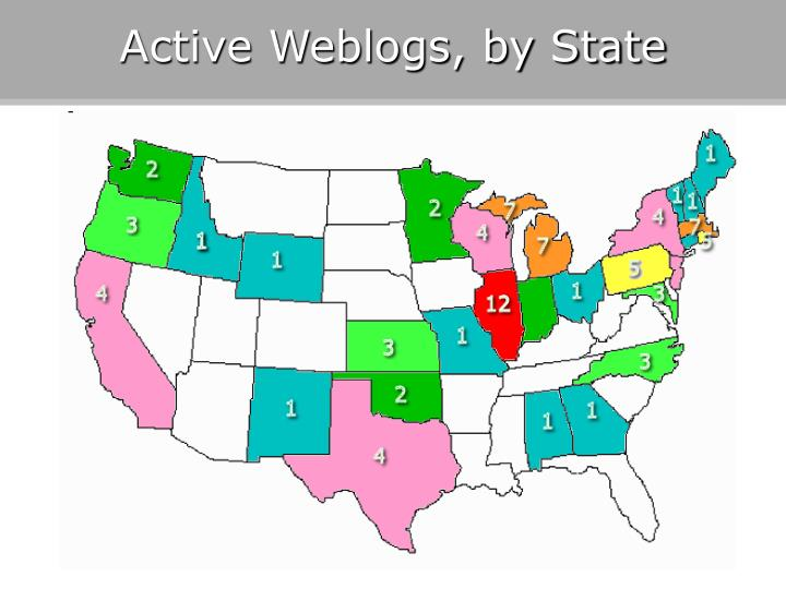 Active Weblogs, by State