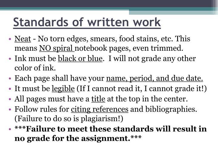 Standards of written work