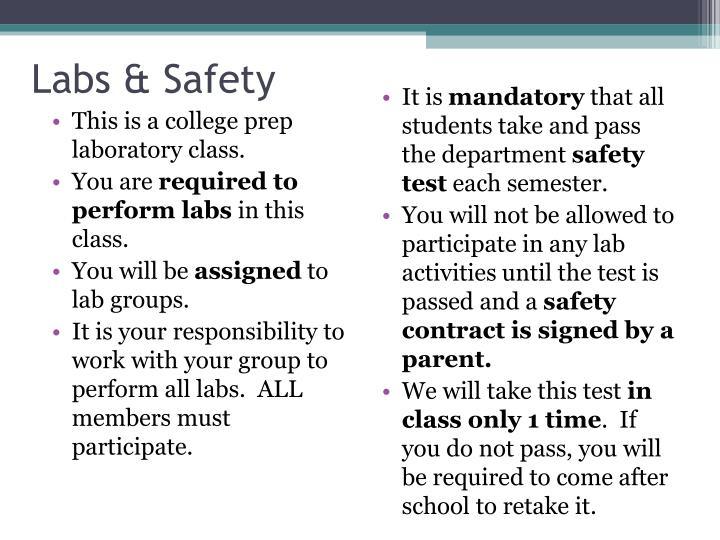 Labs & Safety