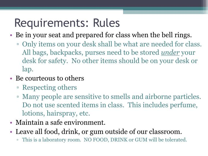 Requirements: Rules
