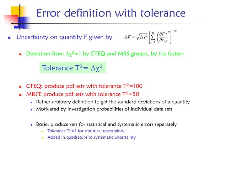 Uncertainty on quantity F given by
