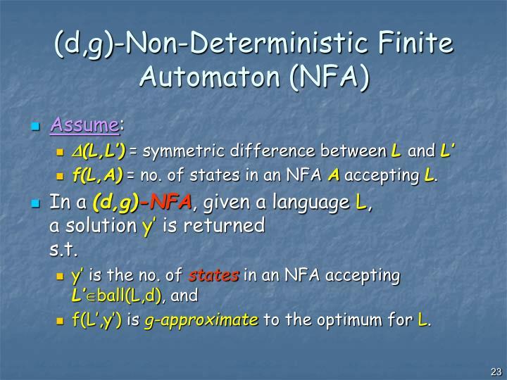 (d,g)-Non-Deterministic Finite Automaton (NFA)