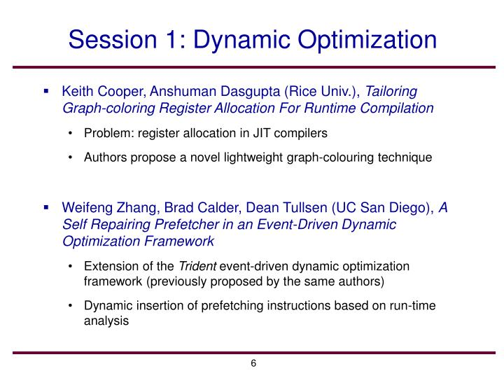 Session 1: Dynamic Optimization