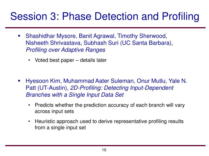 Session 3: Phase Detection and Profiling