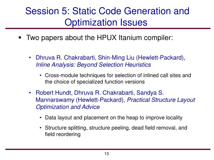 Session 5: Static Code Generation and