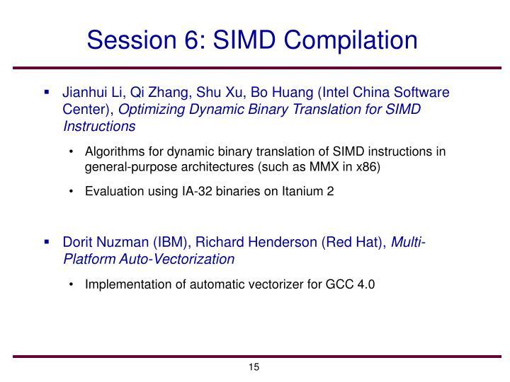 Session 6: SIMD Compilation