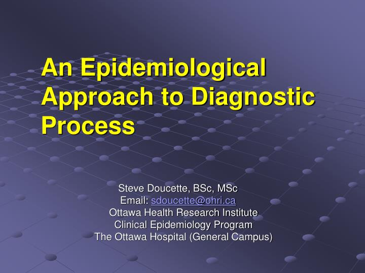 an epidemiological approach to diagnostic process n.