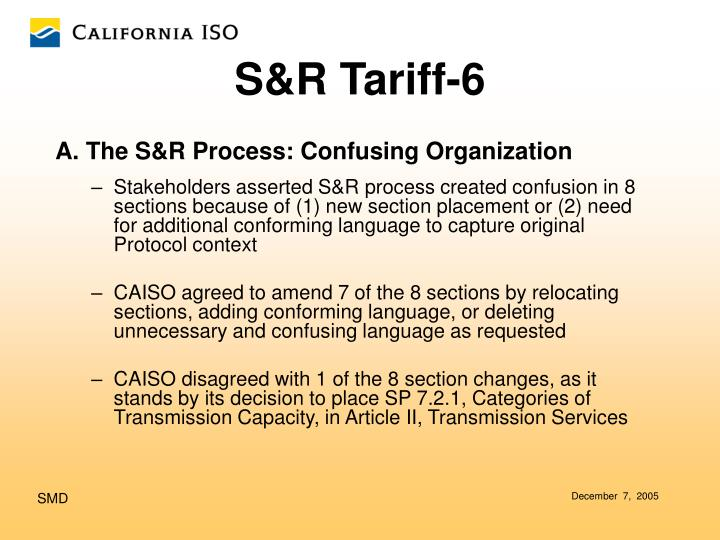 A. The S&R Process: Confusing Organization