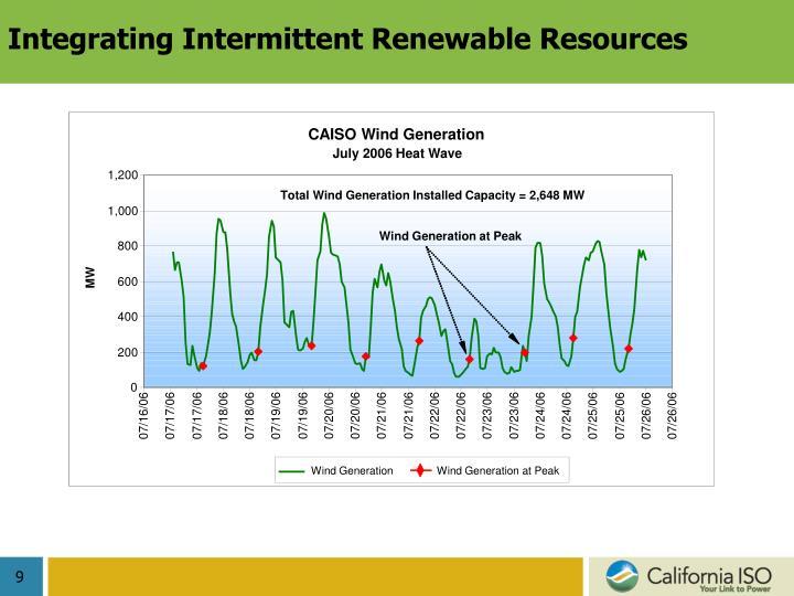 Integrating Intermittent Renewable Resources