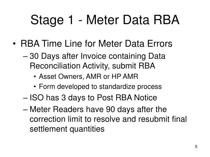 Stage 1 - Meter Data RBA