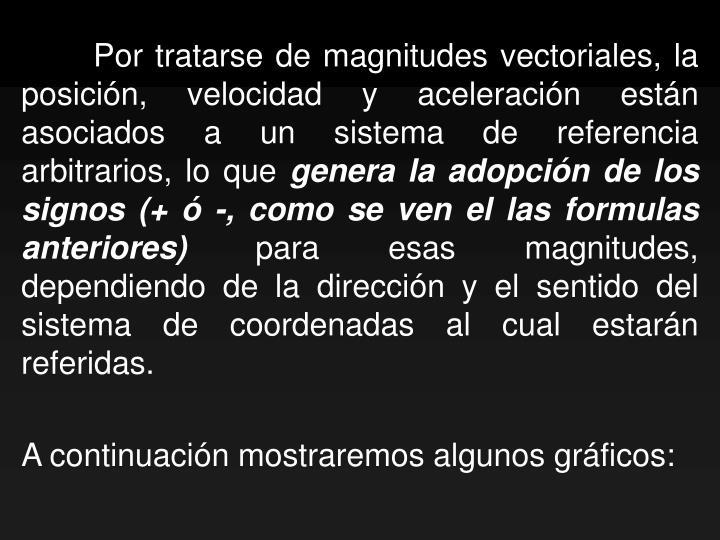 Por tratarse de magnitudes vectoriales, la posición, velocidad y aceleración están asociados a un sistema de referencia arbitrarios, lo que
