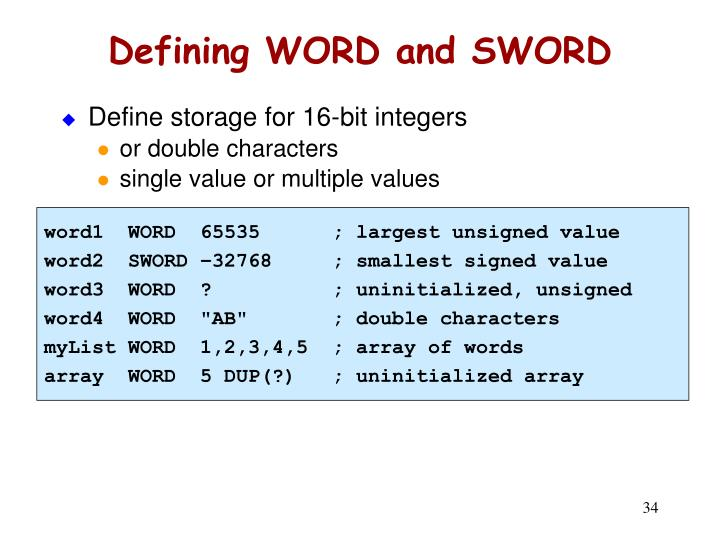 Defining WORD and SWORD
