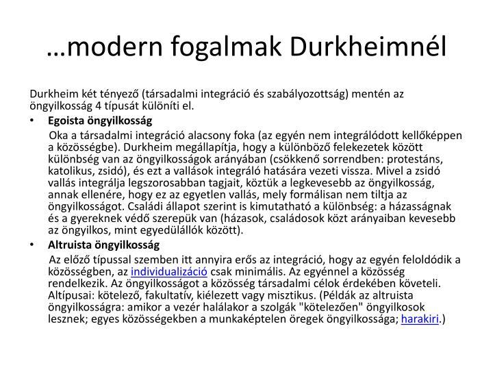 …modern fogalmak Durkheimnél