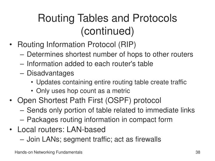 Routing Tables and Protocols (continued)