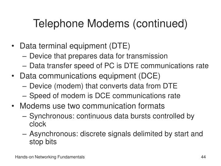 Telephone Modems (continued)