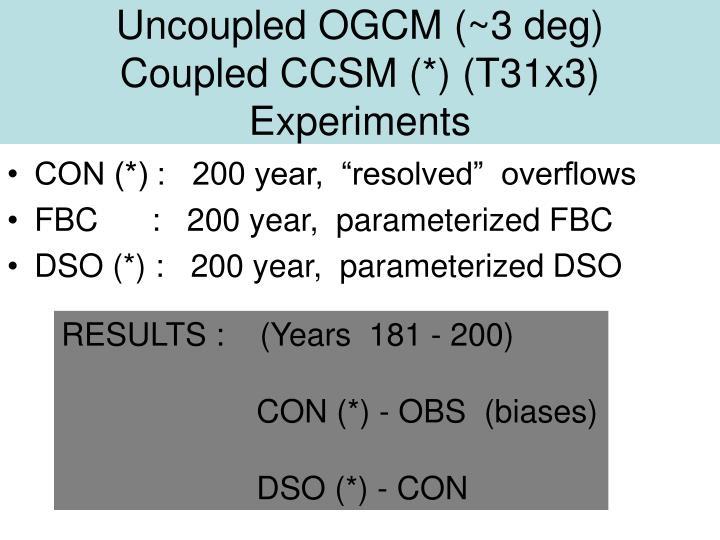 Uncoupled ogcm 3 deg coupled ccsm t31x3 experiments