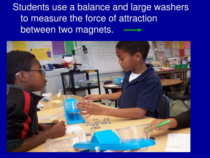 Students use a balance and large washers to measure the force of attraction between two magnets.