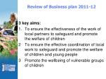review of business plan 2011 12