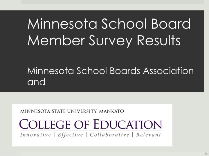 Minnesota School Board Member Survey Results