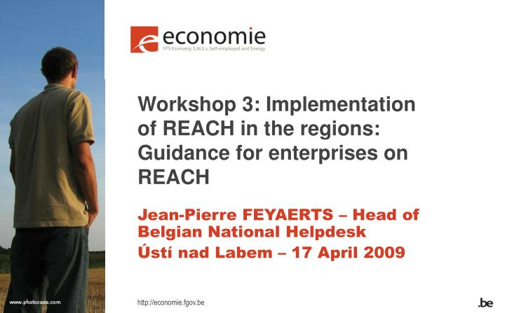 Workshop 3 implementation of reach in the regions guidance for enterprises on reach