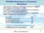 fy2009 statement of interest summary