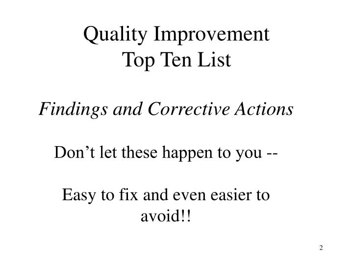Quality improvement top ten list