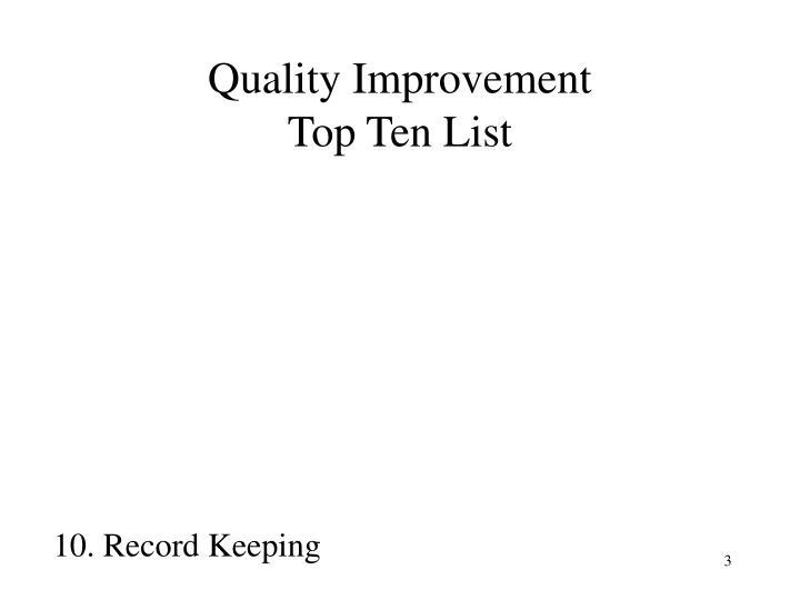 Quality improvement top ten list1