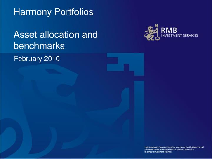 harmony portfolios asset allocation and benchmarks