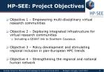 hp see project objectives