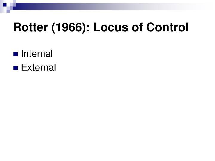 Rotter (1966): Locus of Control