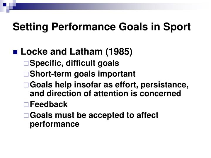 Setting Performance Goals in Sport