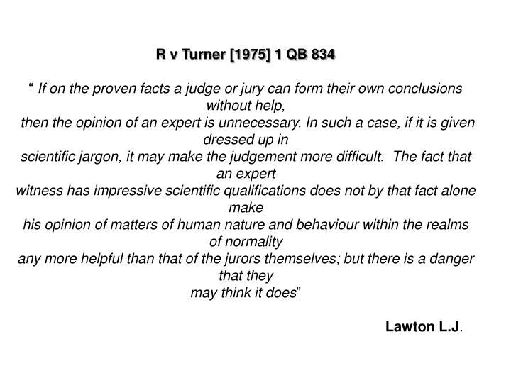 R v Turner [1975] 1 QB 834