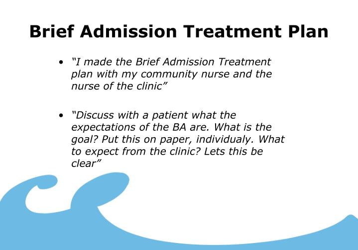 Brief Admission Treatment Plan