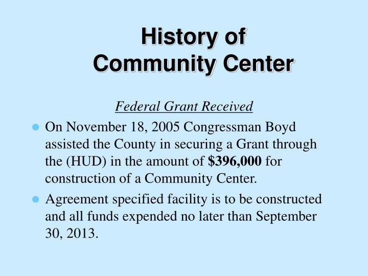 History of community center