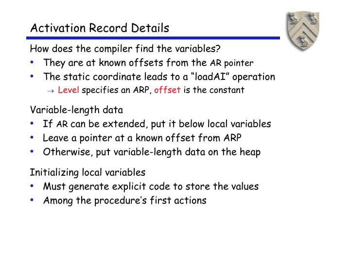 Activation Record Details
