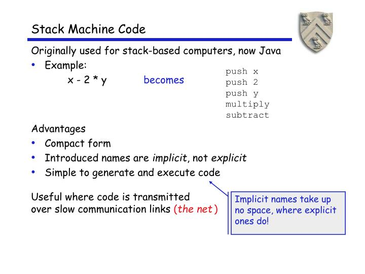 Stack Machine Code