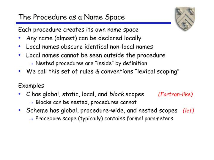 The Procedure as a Name Space