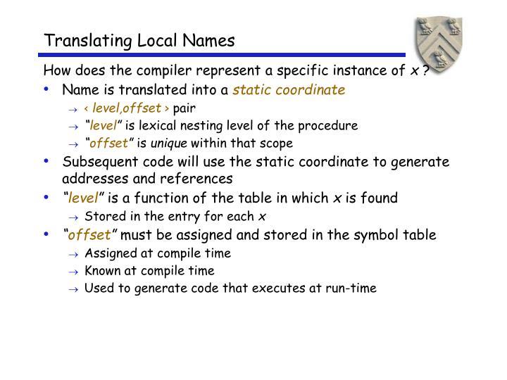 Translating Local Names