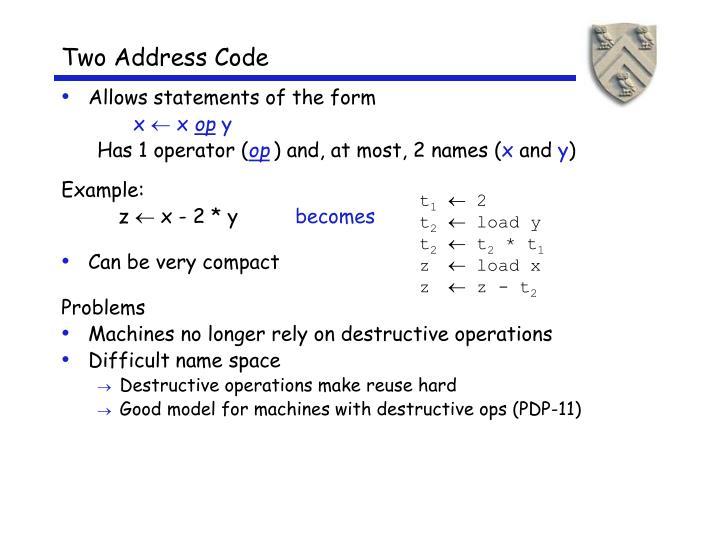Two Address Code