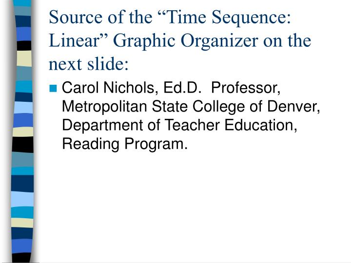 "Source of the ""Time Sequence:  Linear"" Graphic Organizer on the next slide:"