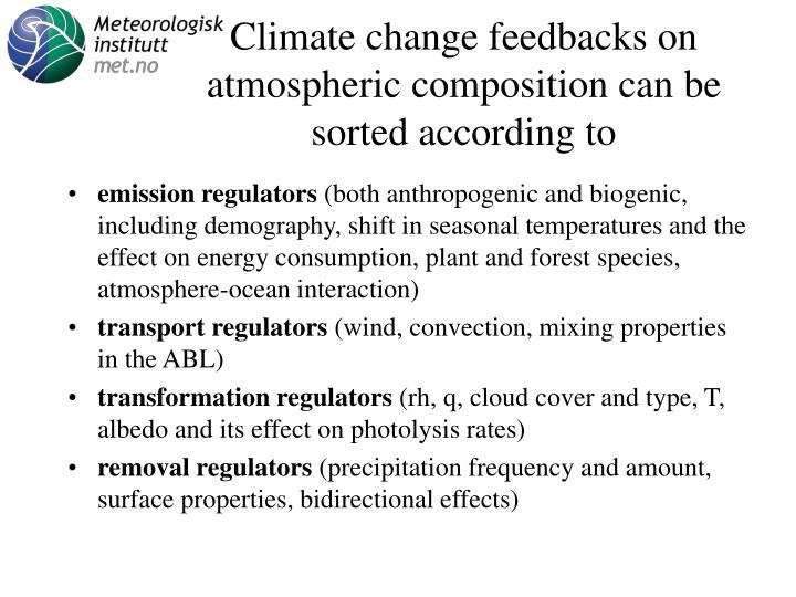 Climate change feedbacks on atmospheric composition can be sorted according to