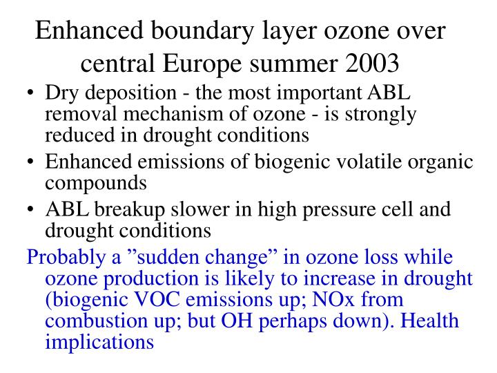 Enhanced boundary layer ozone over central Europe summer 2003