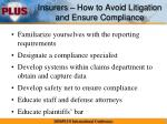 insurers how to avoid litigation and ensure compliance2