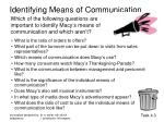 identifying means of communication